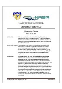 NASA JUNIOR NATIONAL CHAMPIONSHIP CUP. Clearwater, Florida