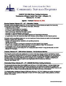 NASCSP 2015 Mid-Winter Training Conference Renaissance Arlington Capital View Hotel - Arlington, VA February 23 27, 2015