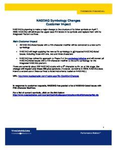 NASDAQ Symbology Changes Customer Impact