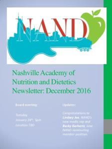 Nashville Academy of Nutrition and Dietetics Newsletter: December 2016