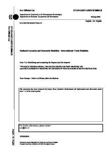 National Accounts and Economic Statistics - International Trade Statistics
