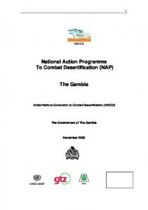 National Action Programme To Combat Desertification (NAP) The Gambia