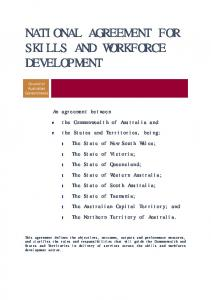 NATIONAL AGREEMENT FOR SKILLS AND WORKFORCE DEVELOPMENT