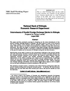 National Bank of Ethiopia Economic Research Department