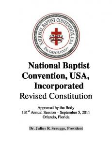 National Baptist Convention, USA, Incorporated Revised Constitution