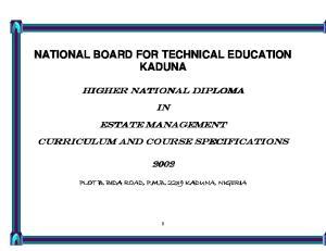 NATIONAL BOARD FOR TECHNICAL EDUCATION KADUNA