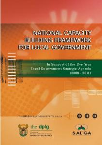 NATIONAL CAPACITY BUILDING FRAMEWORK FOR LOCAL GOVERNMENT