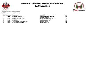 NATIONAL CARNIVAL BANDS ASSOCIATION CARNIVAL 2015