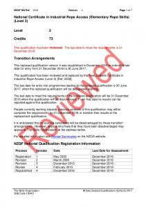 National Certificate in Industrial Rope Access (Elementary Rope Skills) (Level 3)