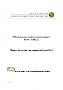 National Commercial Law Assessment Report of UAE