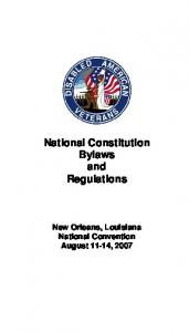 National Constitution Bylaws and Regulations