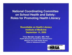 National Coordinating Committee on School Health and Safety: Roles for Promoting Health Literacy