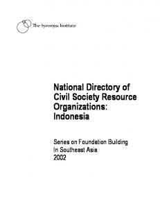 National Directory of Civil Society Resource Organizations: Indonesia