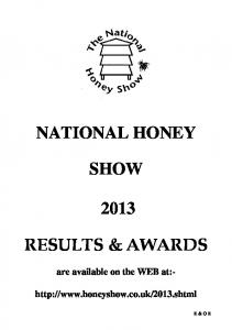 NATIONAL HONEY SHOW RESULTS & AWARDS