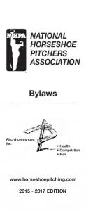 NATIONAL HORSESHOE PITCHERS ASSOCIATION. Bylaws. Pitch horseshoes for: Health Competition Fun EDITION