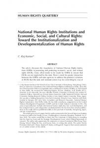 National Human Rights Institutions and Economic, Social, and Cultural Rights: Toward the Institutionalization and Developmentalization of Human Rights