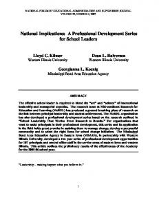 National Implications: A Professional Development Series for School Leaders