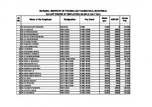 NATIONAL INSTITUTE OF TECHNOLOGY KARNATAKA, SURATHKAL SALARY DRAWN BY EMPLOYEES AS ON 31 JULY 2014 Sl. No. Basic pay. Gross Pay