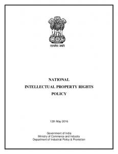 NATIONAL INTELLECTUAL PROPERTY RIGHTS POLICY