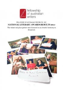 NATIONAL LITERARY AWARDS RESULTS 2015