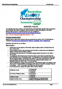 National Memory Championships GENERAL RULES