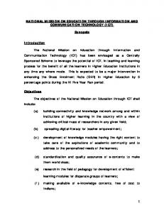 NATIONAL MISSION ON EDUCATION THROUGH INFORMATION AND COMMUNICATION TECHNOLOGY (ICT) Synopsis