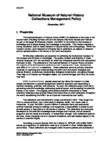 National Museum of Natural History Collections Management Policy