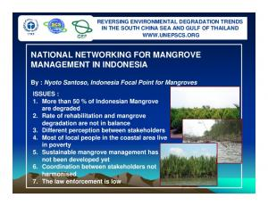 NATIONAL NETWORKING FOR MANGROVE MANAGEMENT IN INDONESIA
