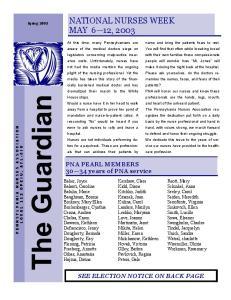 NATIONAL NURSES WEEK MAY 6 12, 2003