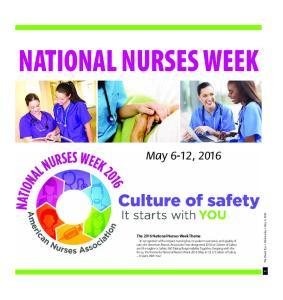 NATIONAL NURSES WEEK. May 6-12, 2016