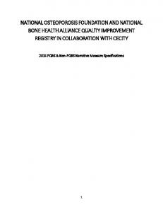 NATIONAL OSTEOPOROSIS FOUNDATION AND NATIONAL BONE HEALTH ALLIANCE QUALITY IMPROVEMENT REGISTRY IN COLLABORATION WITH CECITY
