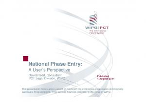 National Phase Entry: A User s Perspective