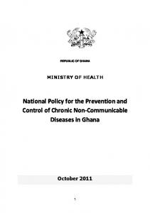 National Policy for the Prevention and Control of Chronic Non-Communicable Diseases in Ghana