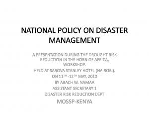NATIONAL POLICY ON DISASTER MANAGEMENT