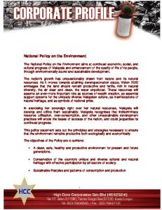 National Policy on the Environment