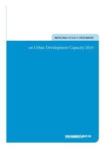 NATIONAL POLICY STATEMENT. on Urban Development Capacity 2016