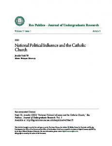 National Political Influence and the Catholic Church