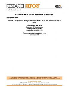 NATIONAL PORK RETAIL MICROBIOLOGICAL BASELINE. Department of Animal Sciences Colorado State University Fort Collins, CO