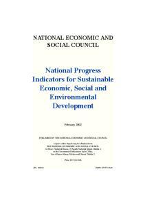 National Progress Indicators for Sustainable Economic, Social and Environmental Development