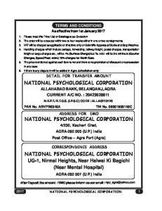 NATIONAL PSYCHOLOGICAL CORPORATION NATIONAL PSYCHOLOGICAL CORPORATION NATIONAL PSYCHOLOGICAL CORPORATION