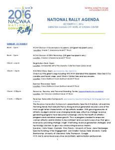 NATIONAL RALLY AGENDA