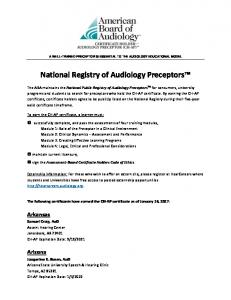 National Registry of Audiology Preceptors