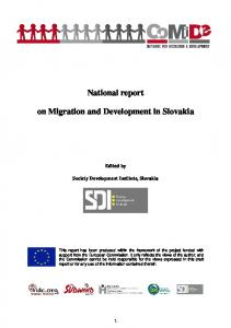 National report. on Migration and Development in Slovakia