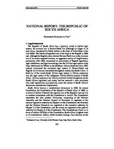 NATIONAL REPORT: THE REPUBLIC OF SOUTH AFRICA