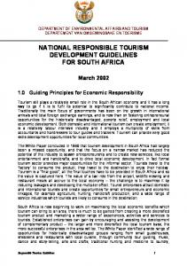 NATIONAL RESPONSIBLE TOURISM DEVELOPMENT GUIDELINES FOR SOUTH AFRICA