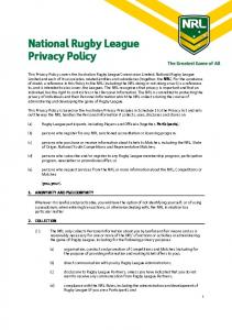 National Rugby League Privacy Policy