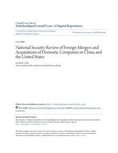 National Security Review of Foreign Mergers and Acquisitions of Domestic Companies in China and the United States