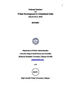 National Seminar on Tribal Development in Globalized India REPORT