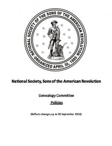 National Society, Sons of the American Revolution