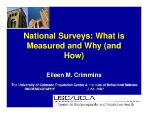 National Surveys: What is Measured and Why (and How)